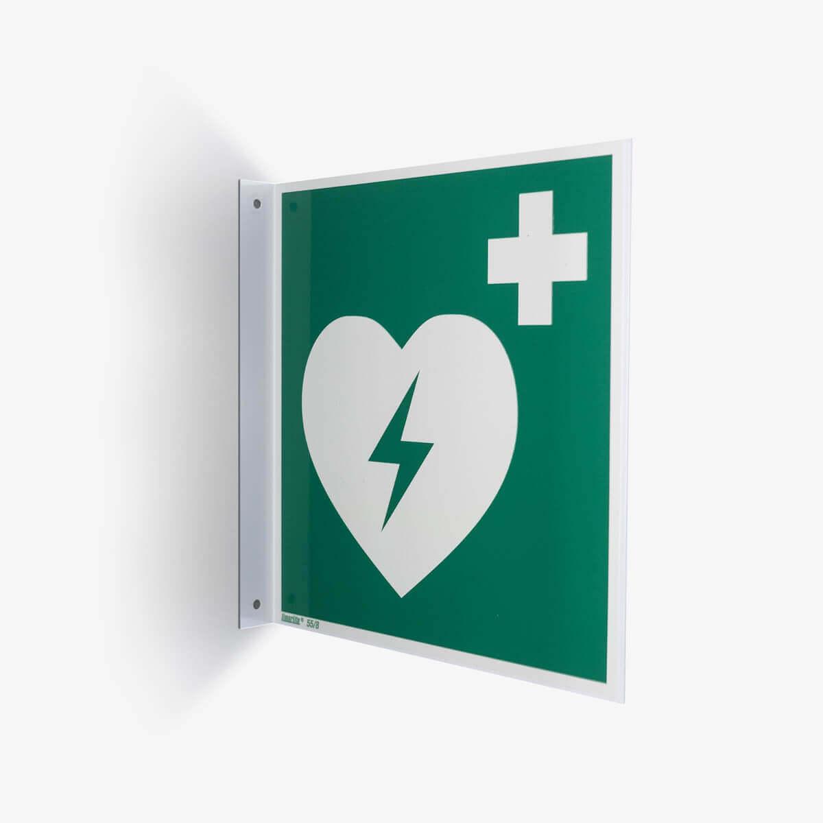 Hinweis-Fahnenschild mit AED Symol