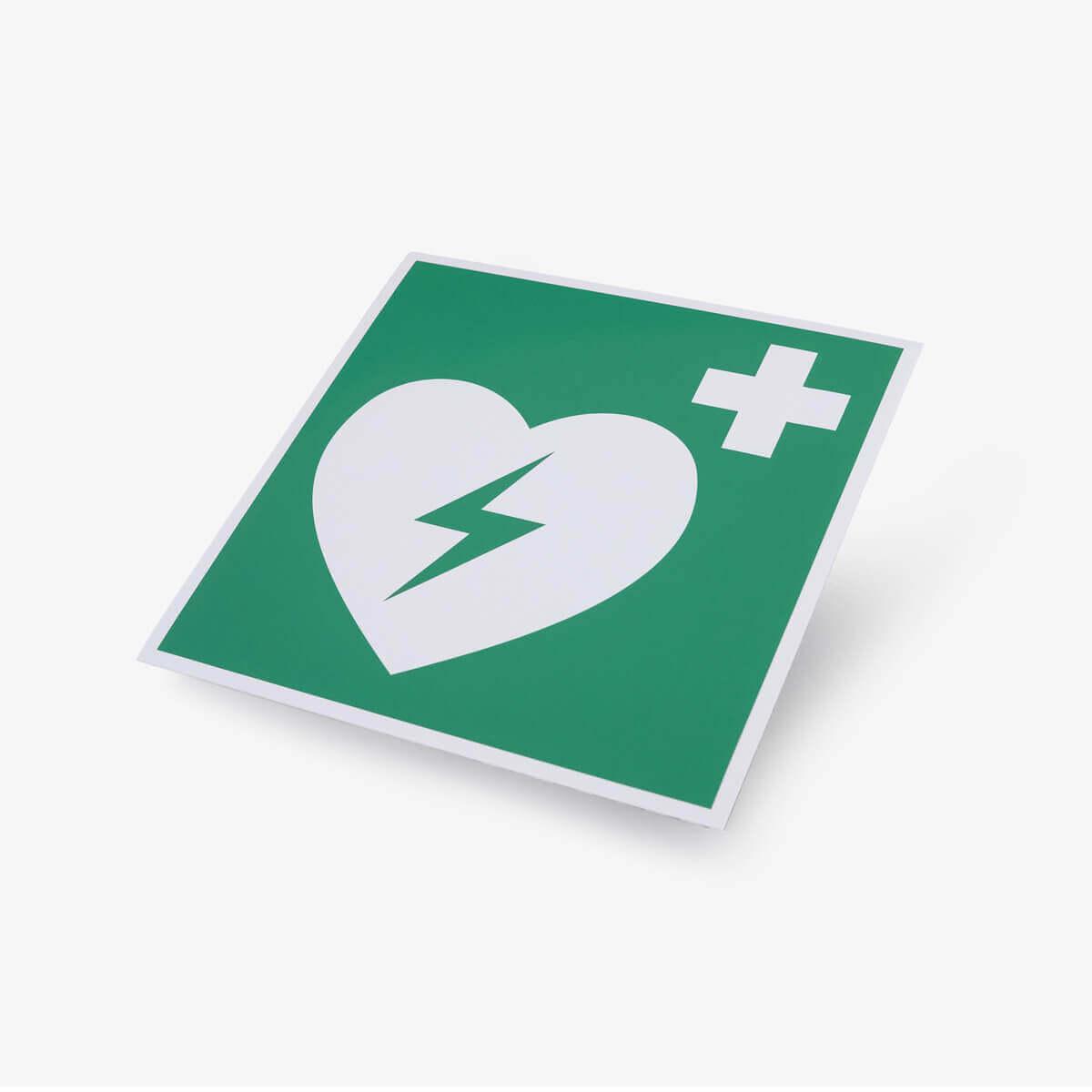 Hinweiskleber mit AED Symbol